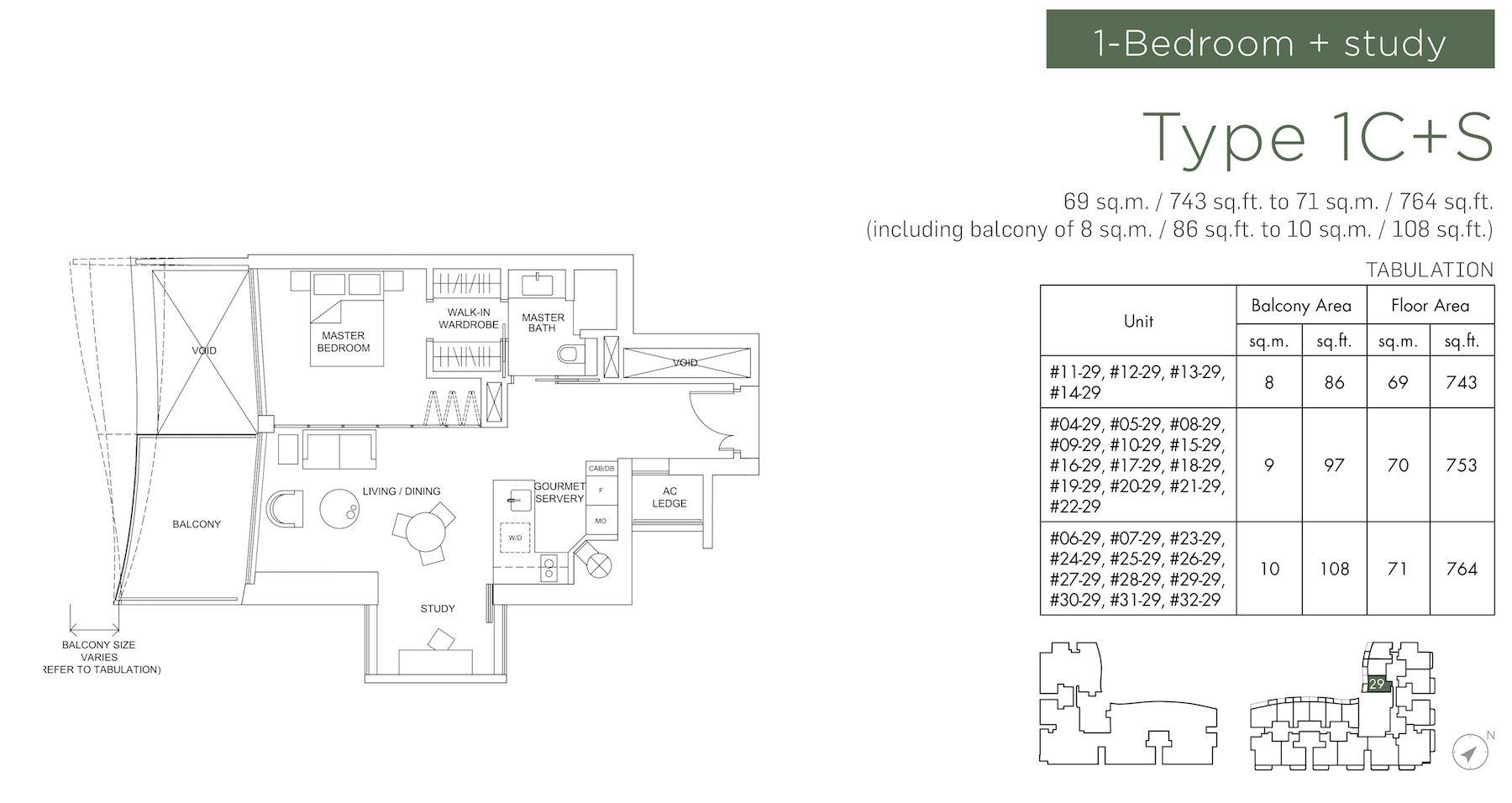 Marina One Residences 滨海盛景豪苑 floor plans 1 bedroom +study 1C+S
