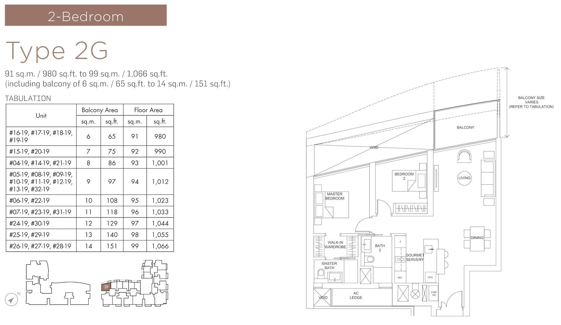 Marina One Residences 滨海盛景豪苑 floor plans 2 bedroom 2G