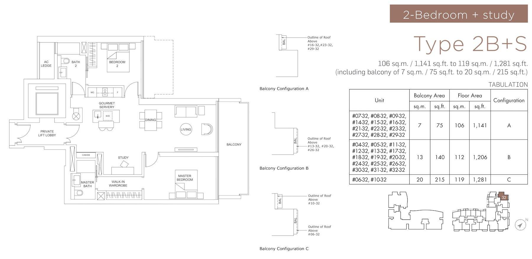 Marina One Residences 滨海盛景豪苑 floor plans 2 bedroom +study 2B+S