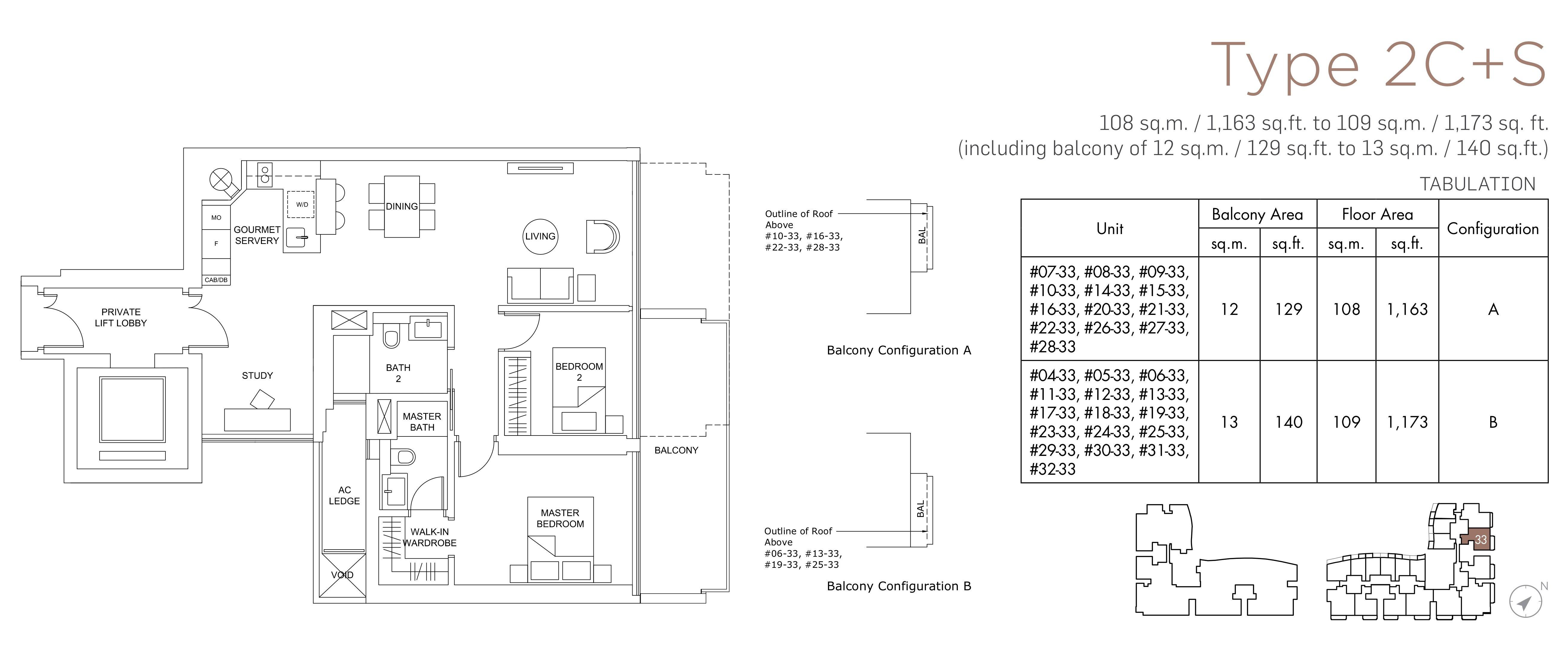 Marina One Residences 滨海盛景豪苑 floor plans 2 bedroom +study 2C+S