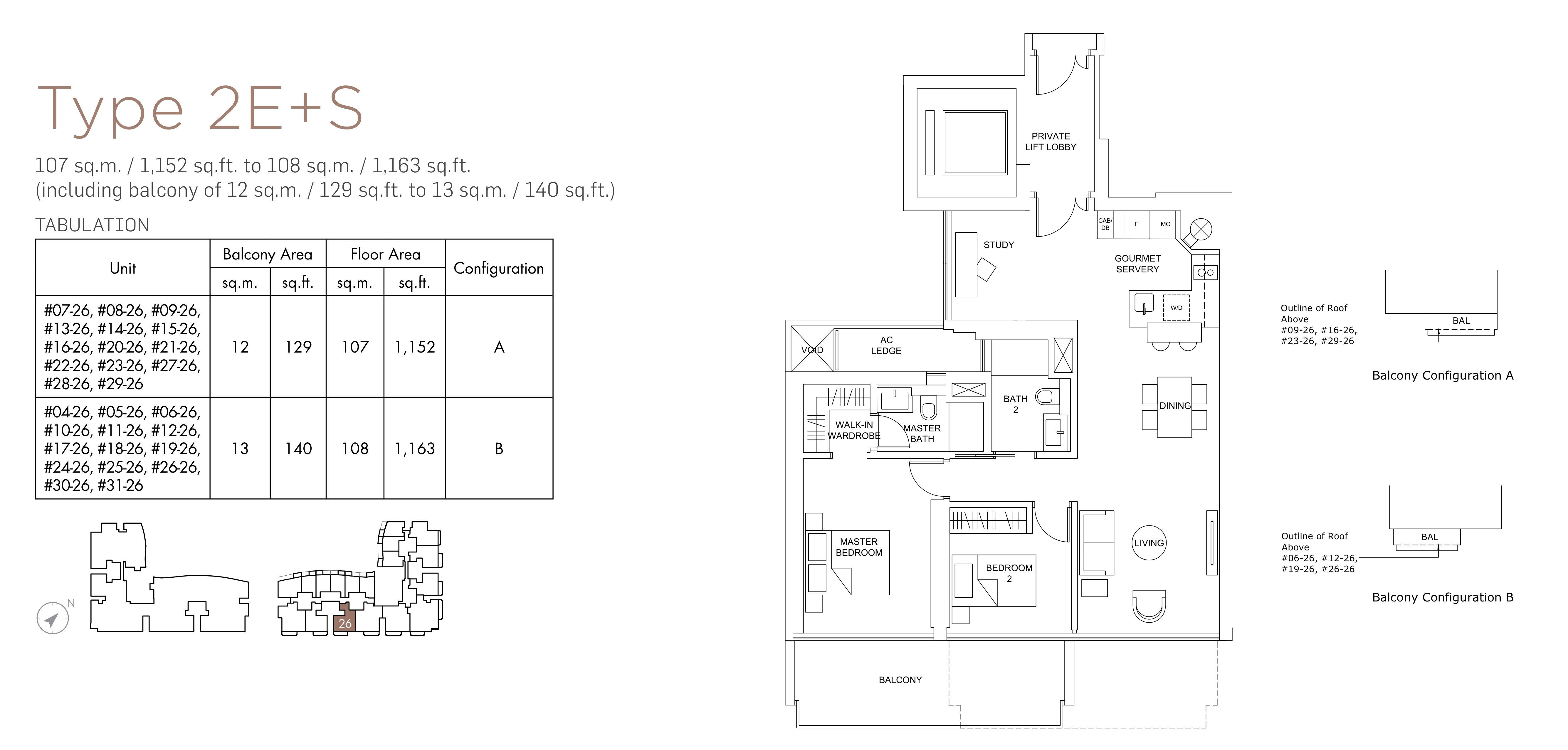 Marina One Residences 滨海盛景豪苑 floor plans 2 bedroom +study 2E+S