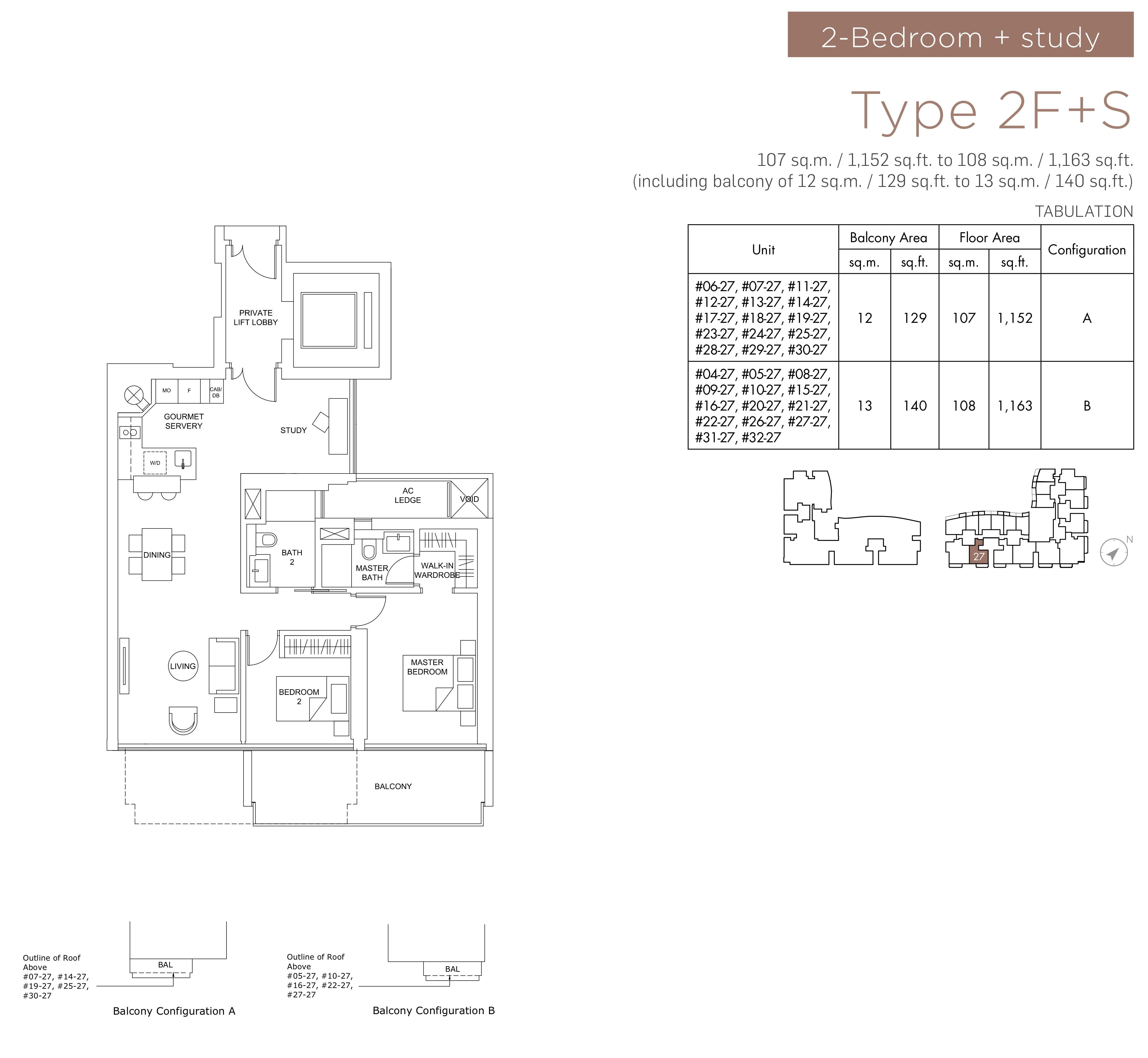 Marina One Residences 滨海盛景豪苑 floor plans 2 bedroom +study 2F+S
