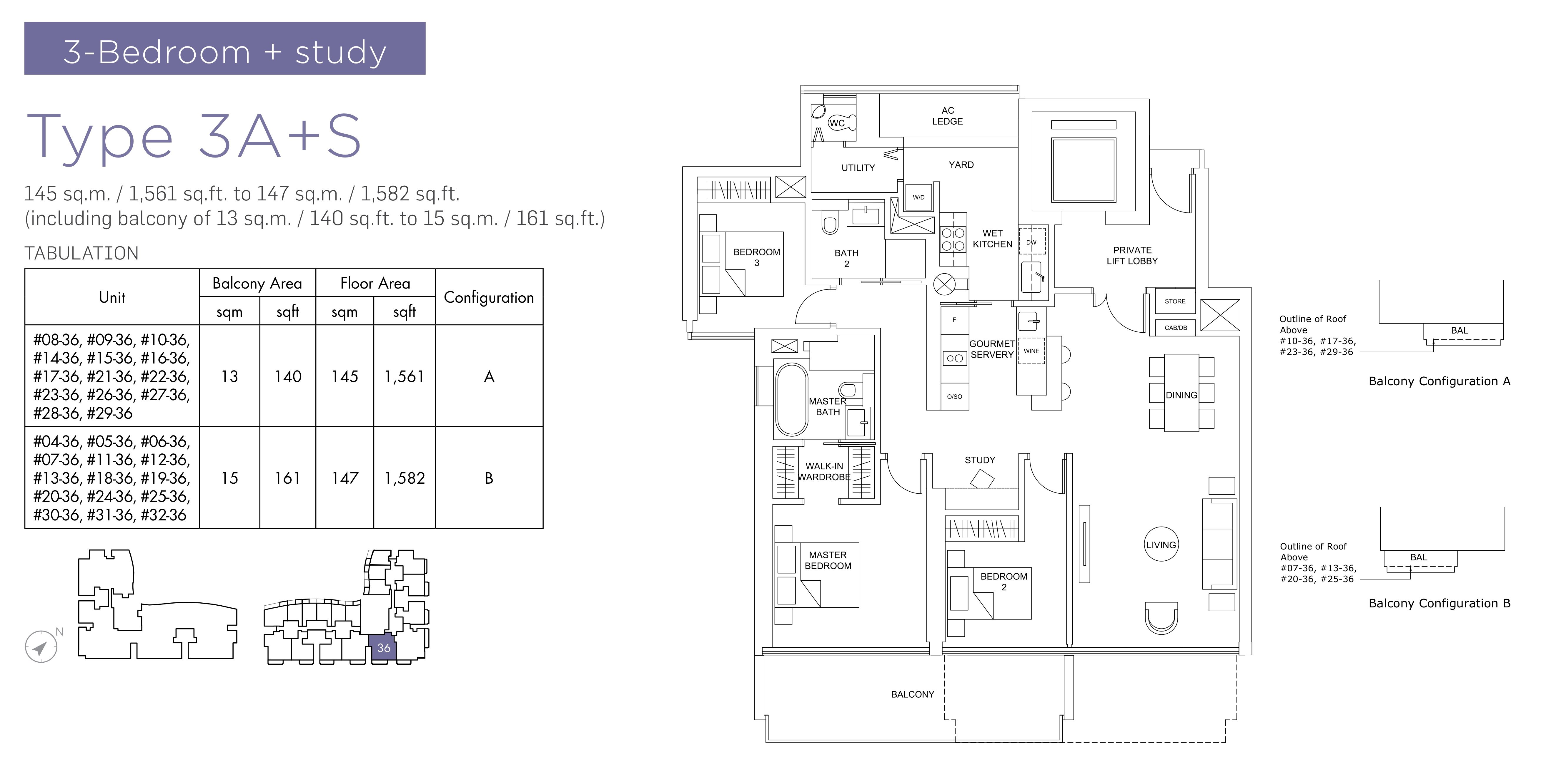 Marina One Residences 滨海盛景豪苑 floor plans 3 bedroom +study 3A+S