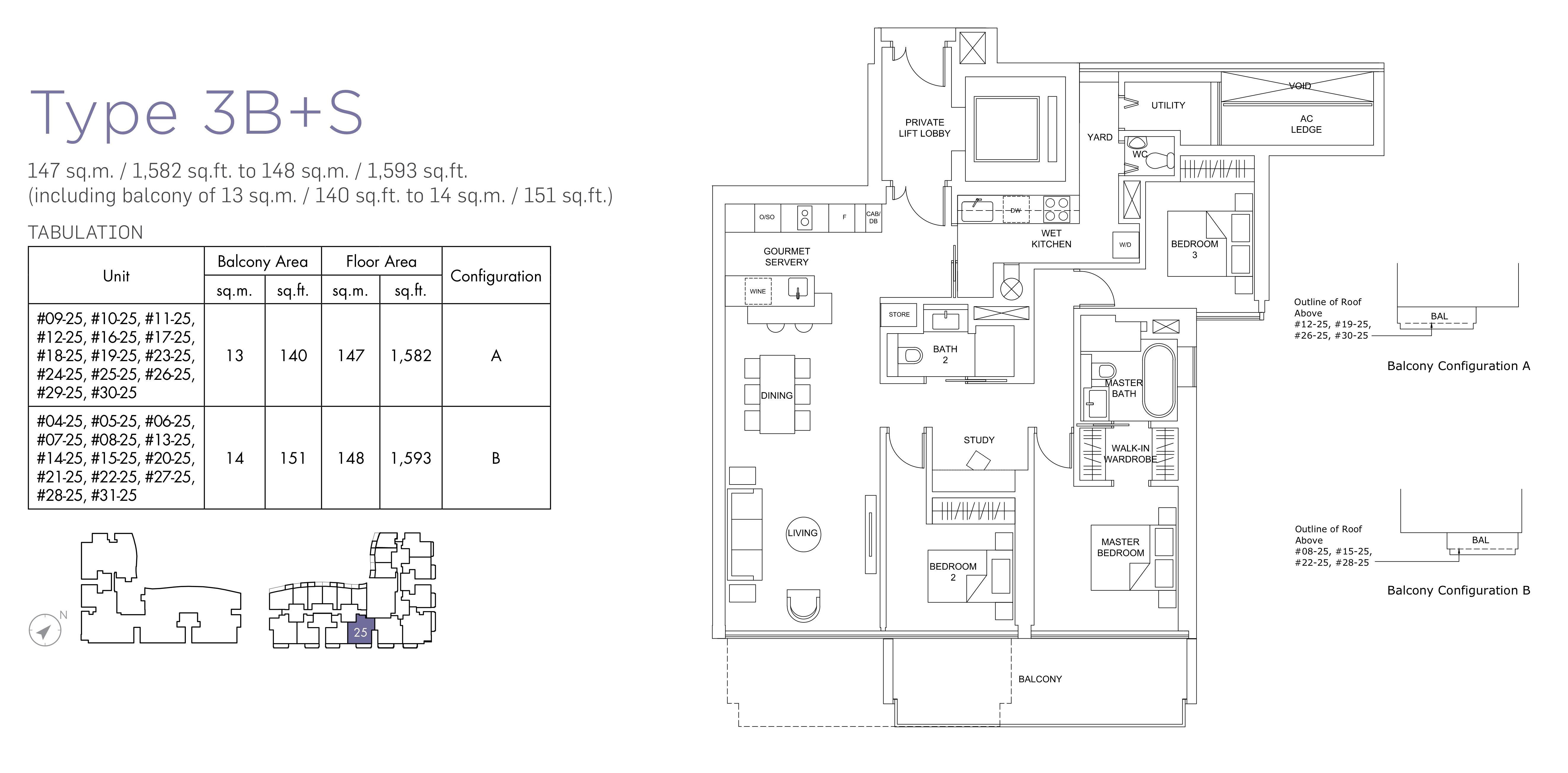 Marina One Residences 滨海盛景豪苑 floor plans 3 bedroom +study 3B+S