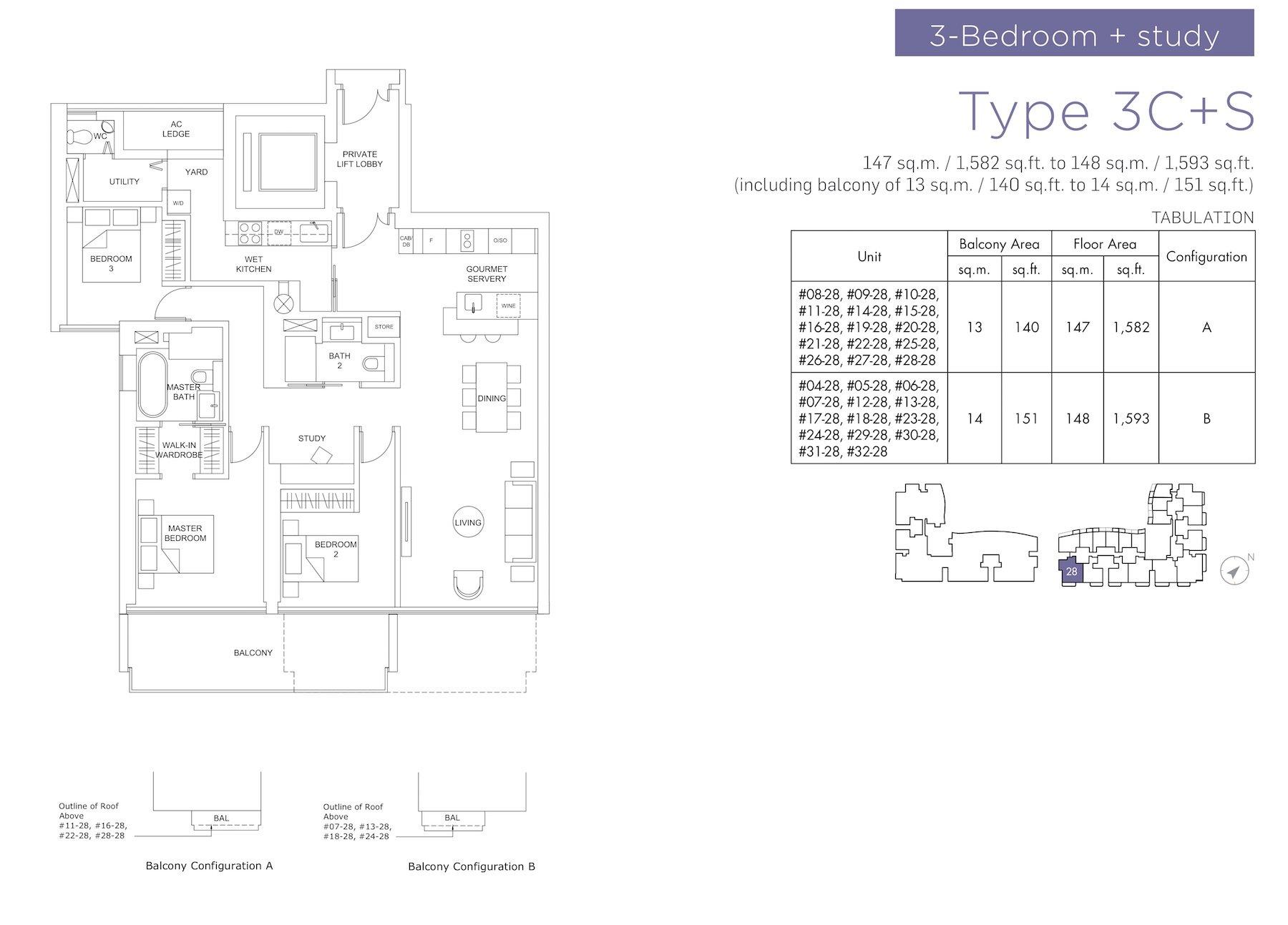 Marina One Residences 滨海盛景豪苑 floor plans 3 bedroom +study 3C+S