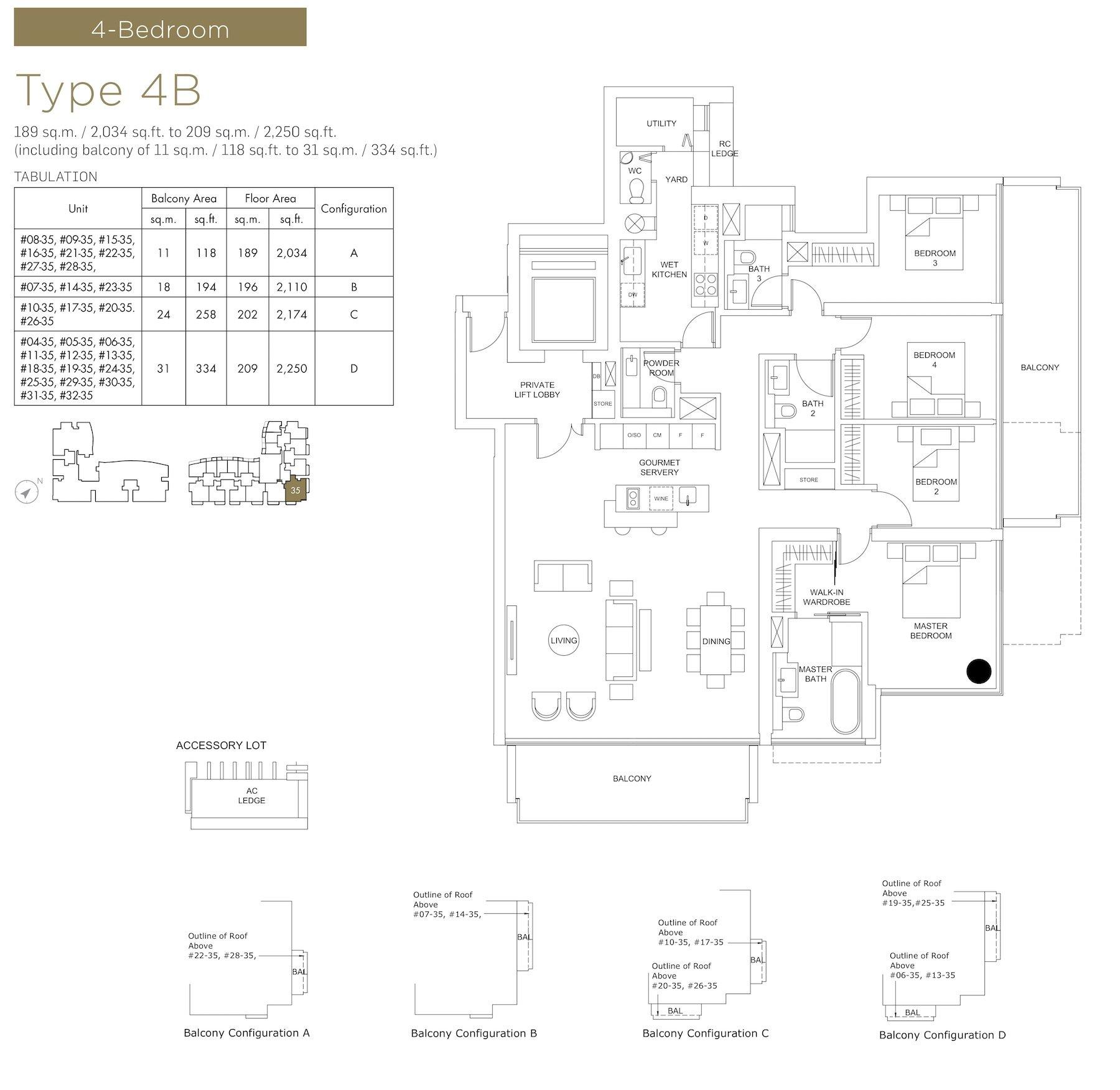 Marina One Residences 滨海盛景豪苑 floor plans 4 bedroom 4B