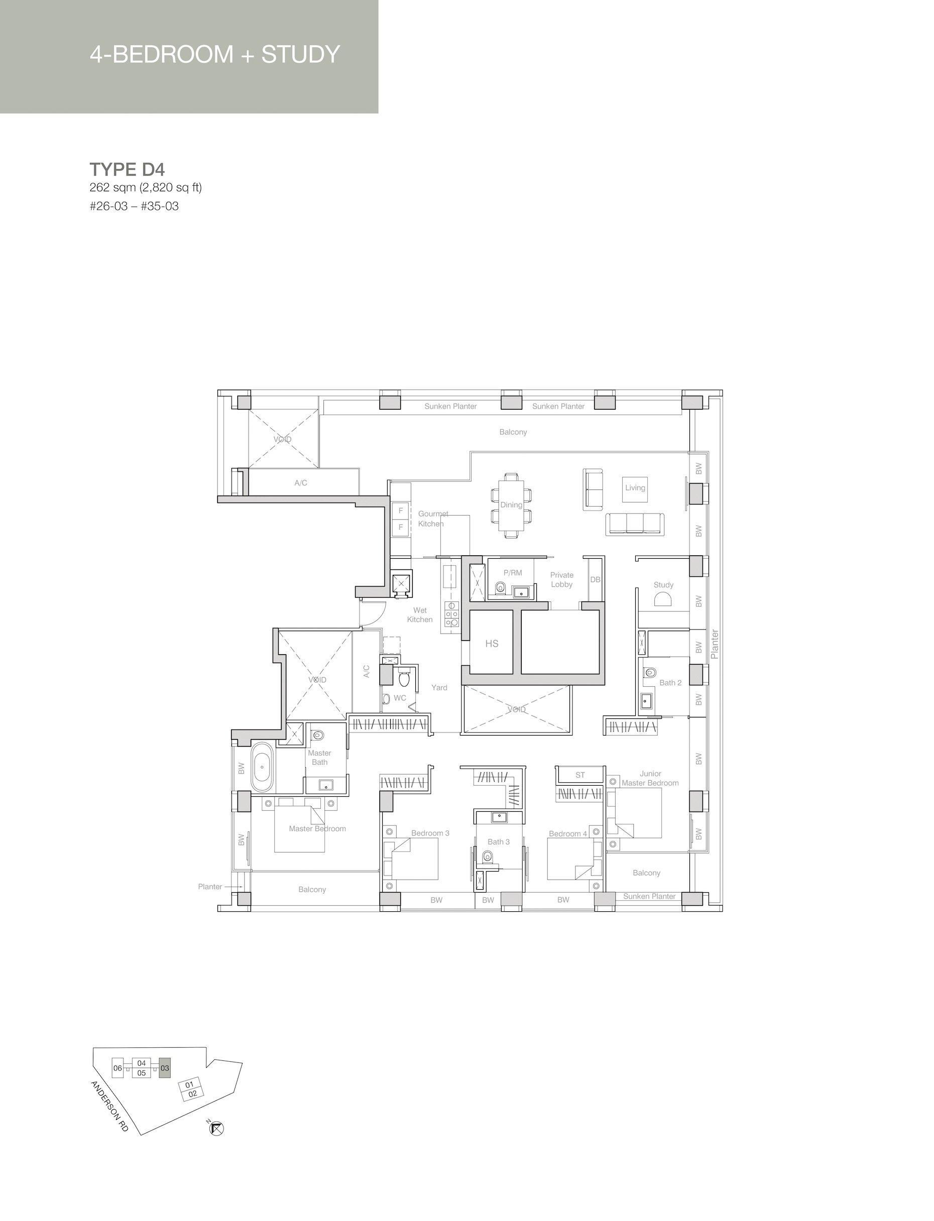 Nouvel 18 明筑公寓-floor plan 4卧房+书房d4