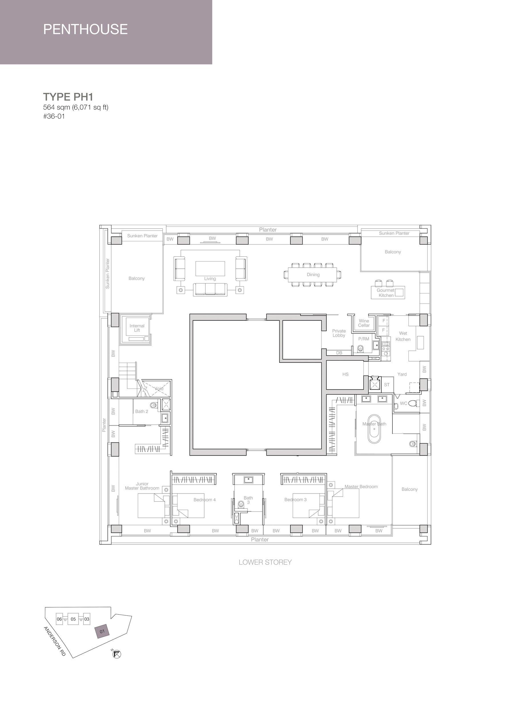 Nouvel 18 明筑公寓 floor plans PH1 36-01