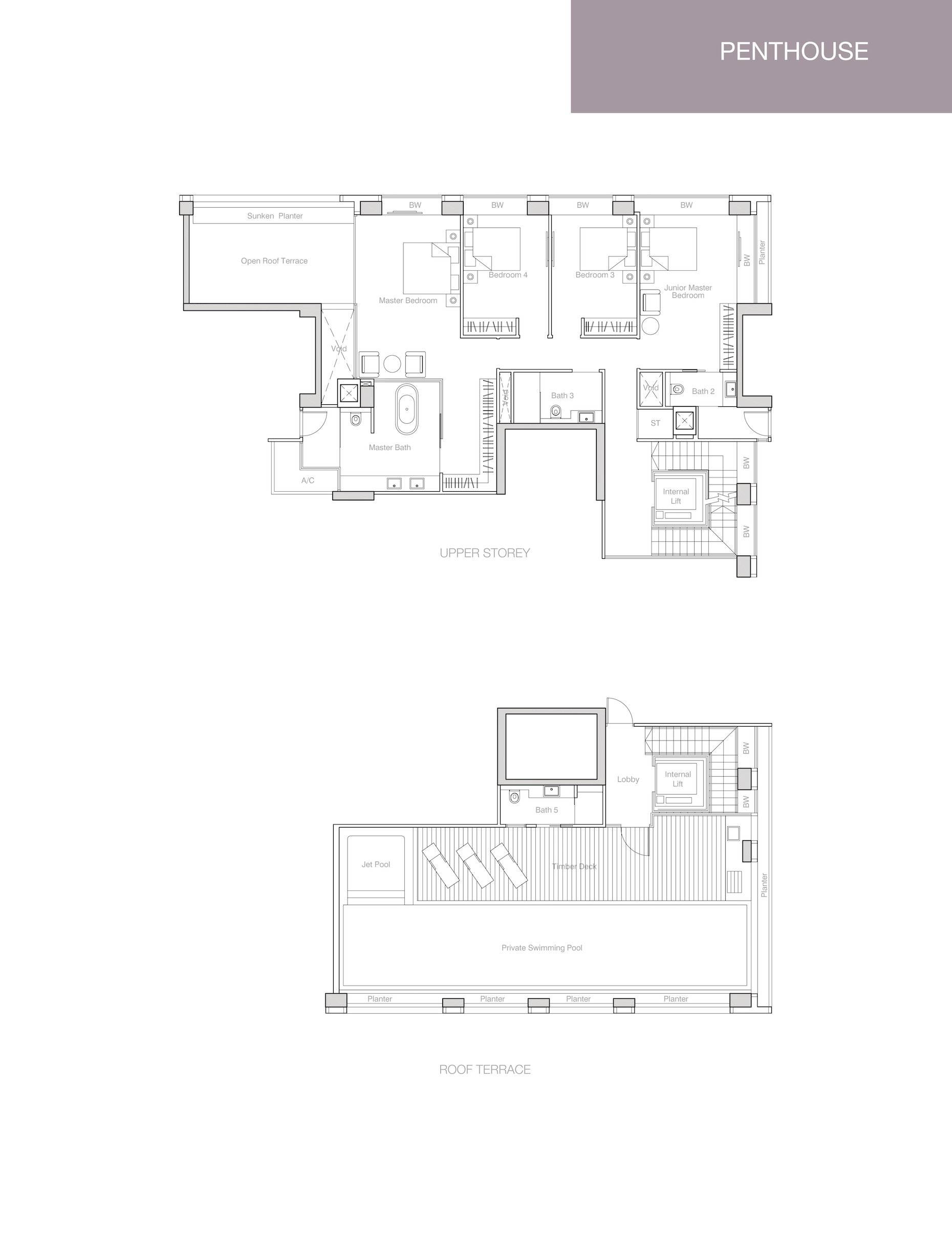 Nouvel 18 明筑公寓 floor plans PH2 35-05 upper