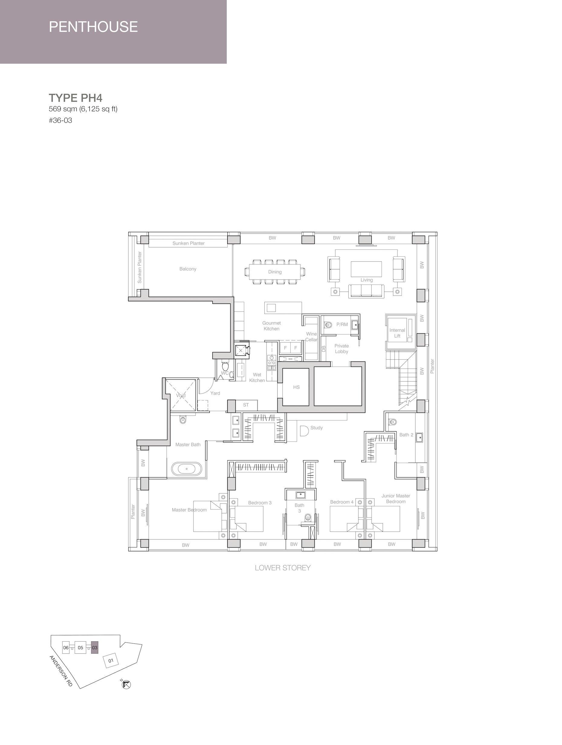 Nouvel 18 明筑公寓 floor plans PH4 36-03