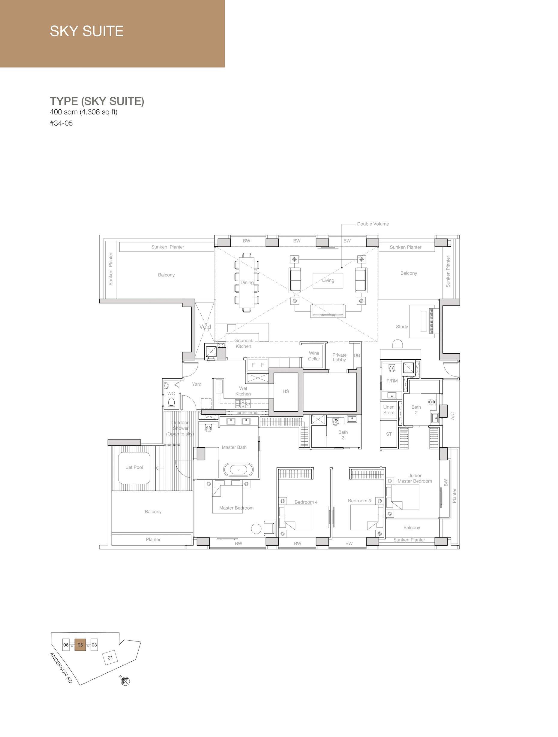 Nouvel 18 明筑公寓 floor plans sky suites 34-05