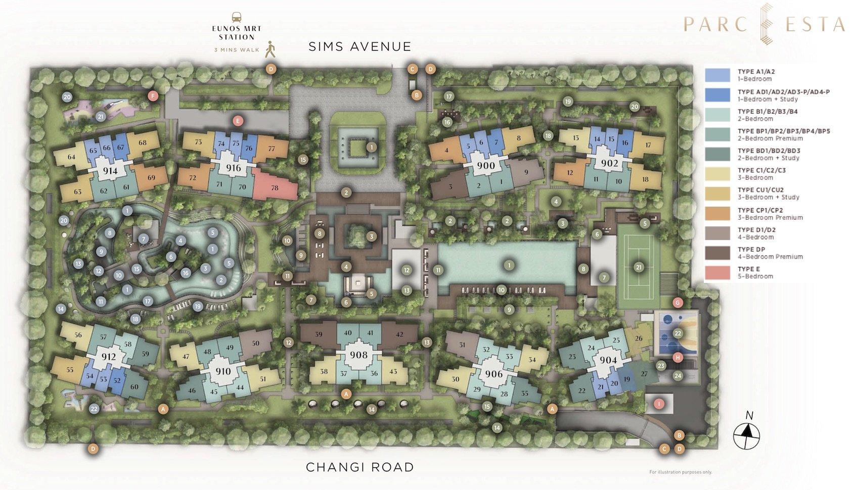 Parc Esta 东景苑 site plan and unit mix